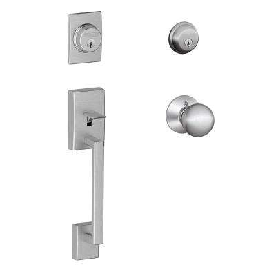 Century Satin Chrome Double Cylinder Deadbolt with Orbit Knob Door Handleset