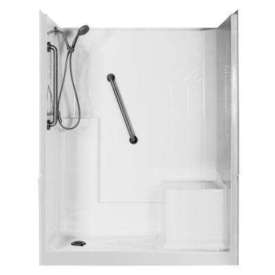 Elizabeth Deluxe 60 in. x 33 in. x 77 in. 3-Piece Low Threshold Shower Stall in White with Right Seat and Left Drain