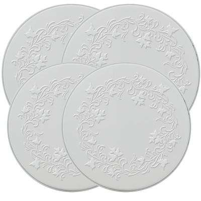 Ivy Embossed Round Burner Kovers in White