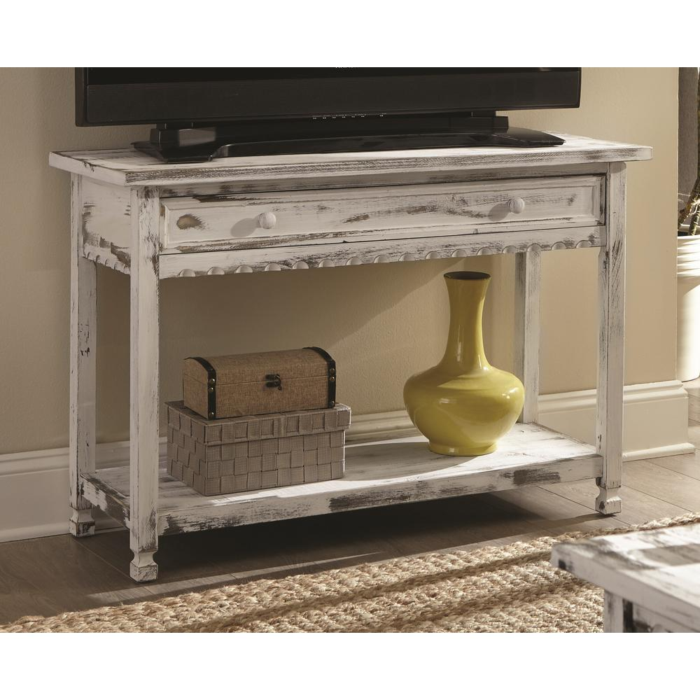 Alaterre Furniture Country Cottage White Antique Media/Console Table - Alaterre Furniture Country Cottage White Antique Media/Console Table