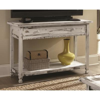 Country Cottage White Antique Media/Console Table