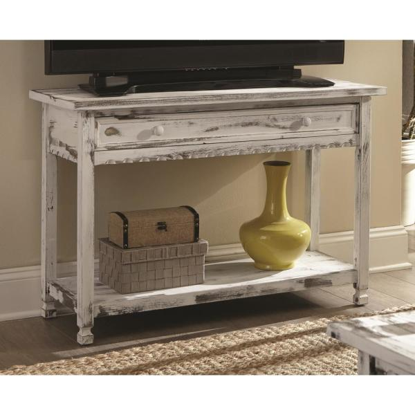 Alaterre Furniture Country Cottage 42 In White Rectangle Wood Console Table With Drawer Acca14wa The Home Depot