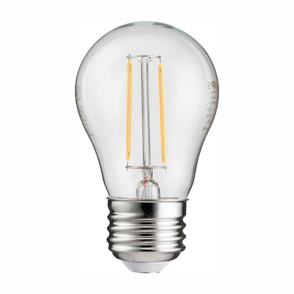 Philips 25-Watt Equivalent A15 Indoor/Outdoor Clear Glass Edison LED Light Bulb Amber Warm White (2200K)
