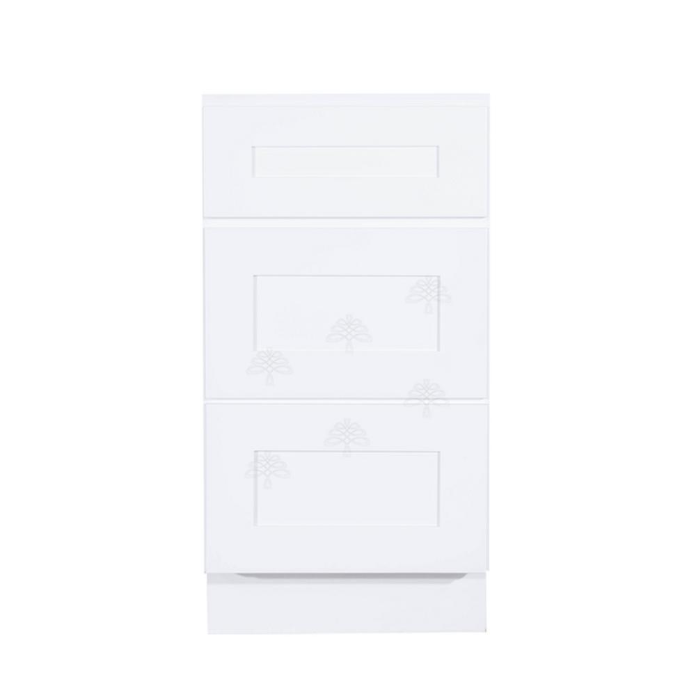 LIFEART CABINETRY Shaker Assembled 15 in. W x 21 in. D x 33 in. H Vanity Cabinet Only with 3 Drawers in White