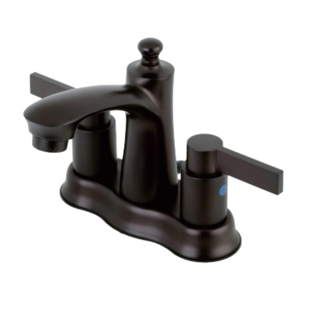 Kingston Brass NuvoFusion 4 in. Centerset 2-Handle Bathroom Faucet in Oil Rubbed Bronze