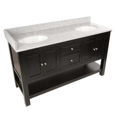 Gazette 61 in. Vanity in Espresso with Granite Vanity Top in Rushmore Grey with Double Bowl