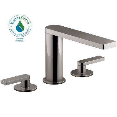 Composed 8 in. Widespread 2-Handle Lever Handle Bathroom Faucet with Drain in Titanium