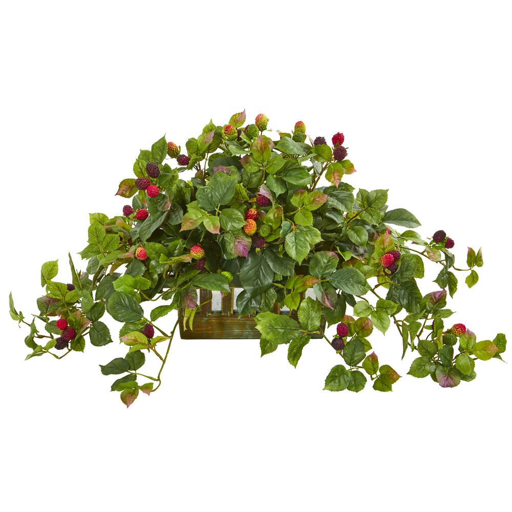 Indoor Deluxe Raspberry Artificial Plant in Decorative Planter