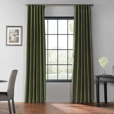 Pine Top Green Blackout Vintage Textured Faux Dupioni Silk Curtain - 50 in. W x 120 in. L