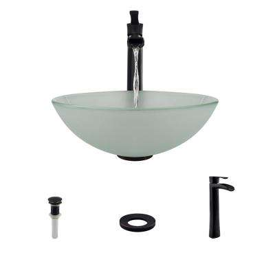 Glass Vessel Sink in Frost with 731 Faucet and Pop-Up Drain in Antique Bronze
