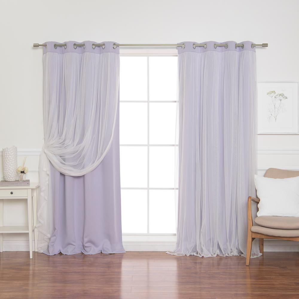 Best Home Fashion 84 in. L Lilac Marry Me Lace Overlay Blackout Curtain Panel  (2-Pack)