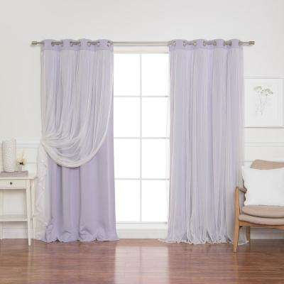 84 in. L Lilac Marry Me Lace Overlay Blackout Curtain Panel  (2-Pack)