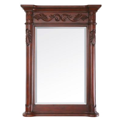 Provence 24 in. W x 33 in. H Framed Rectangular Beveled Edge Bathroom Vanity Mirror in Antique Cherry