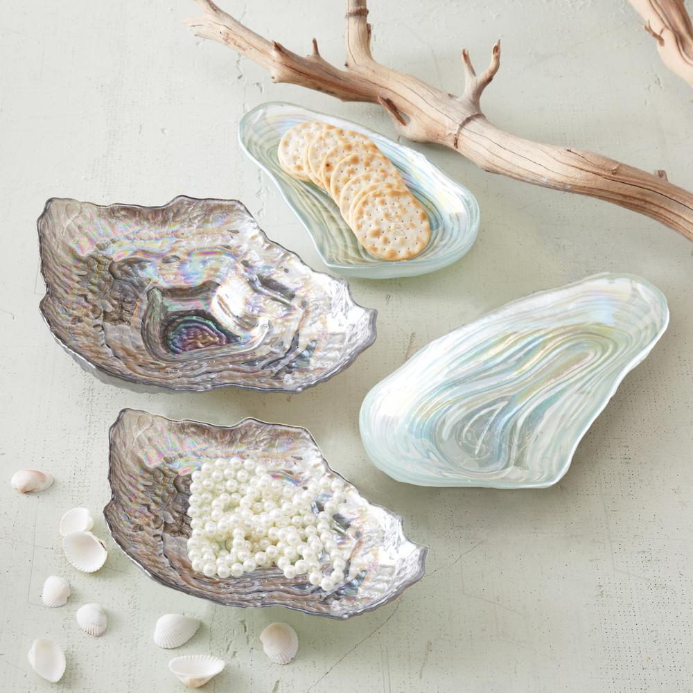 Sea Glass Lustrous Shell Decorative Plates (Set of 4)