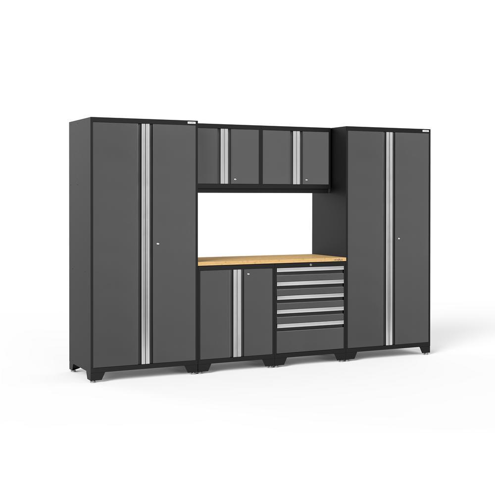 Pro Series 3.0 128 in. W x 85.25 in. H x 24 in. D 18-Gauge Steel Garage Cabinet Set in Gray (7-Piece)