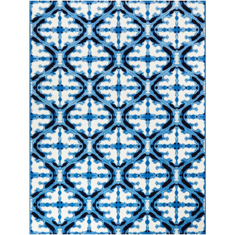 Faded Trellis Blue 5 ft. x 7 ft. Watercolor Indoor/Outdoor Area Rug