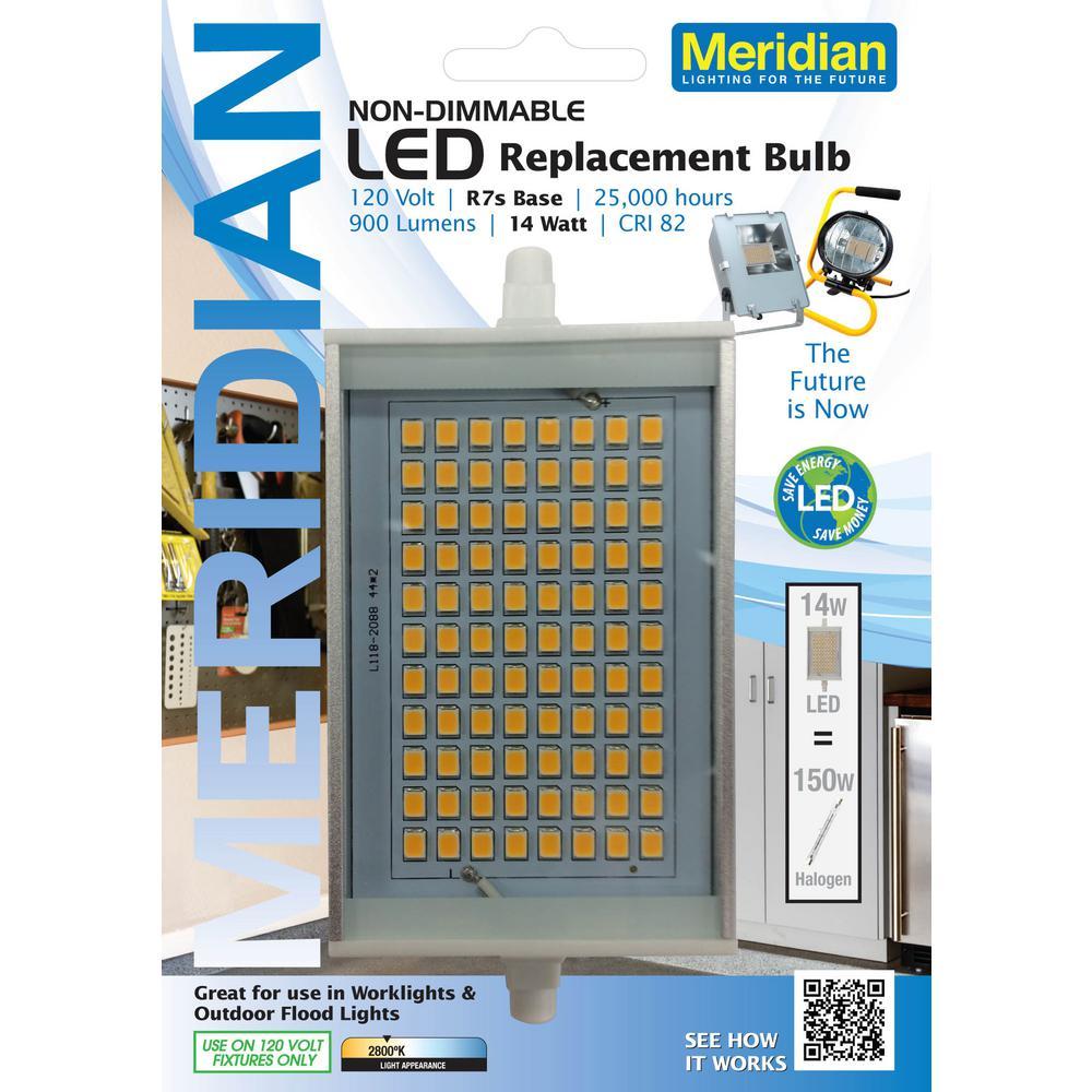 meridian 150w equivalent soft white 2800k r7s led light bulb 13159 the home depot. Black Bedroom Furniture Sets. Home Design Ideas