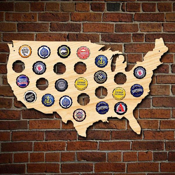 Personalised World Beer Cap Map Wooden Wall Decoration Great Home or Bar Gift