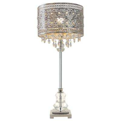 Brielle 28.75 in. Silver Table Lamp with Polished Nickel and Crystal Shade