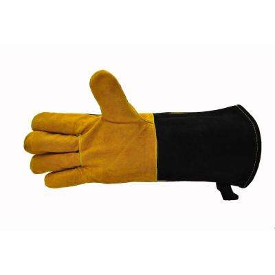 Cowhide Suede Leather BBQ and Fireplace Gloves with Extra Long Cuff