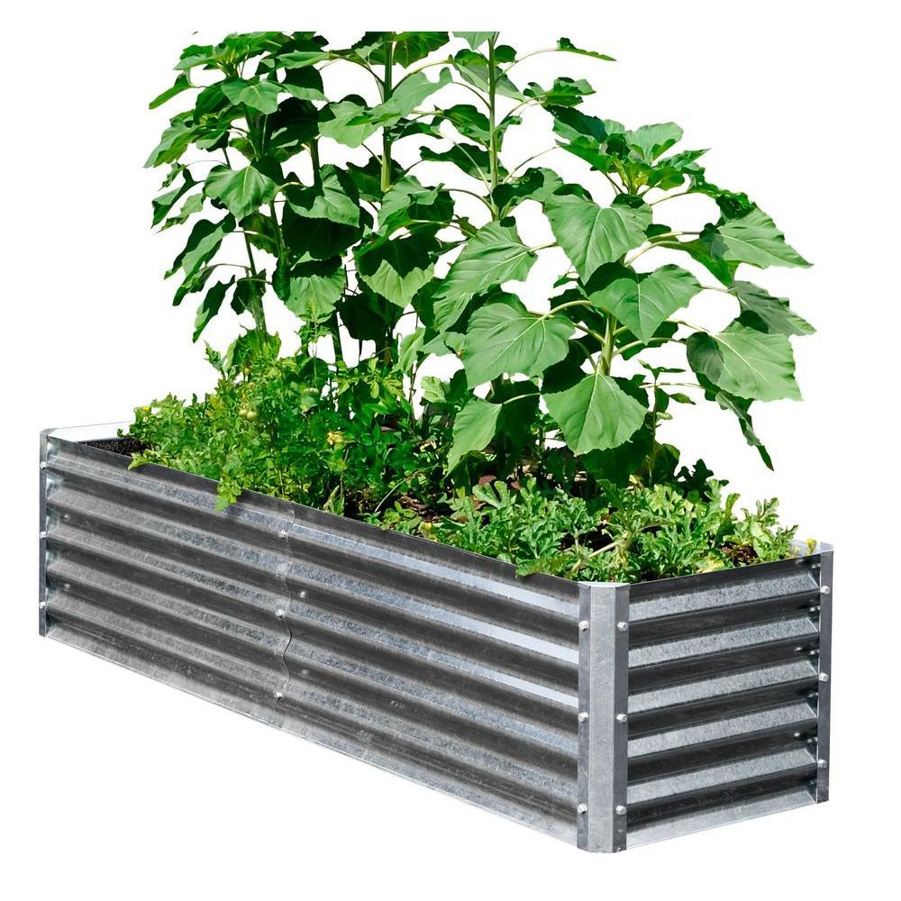 Alto Series 40 in. x 76 in. x 17 in. Galvanized Metal Garden Bed Bundle