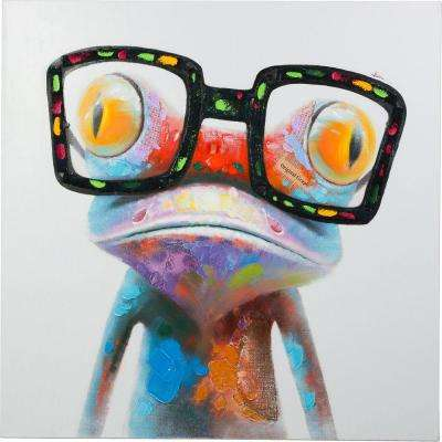 """40 in. x 40 in. Amazing Gecko"""" Hand Painted Canvas Wall Art"""