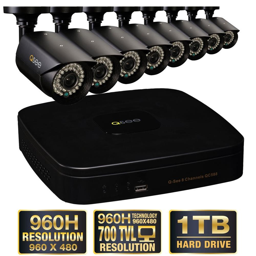Q-SEE Premium Series 8-Channel 960H 1TB Surveillance System with (8) 960H Cameras, 100 ft. Night Vision