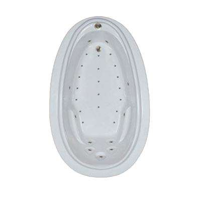 72 in. Acrylic Oval Drop-in Air Bathtub in Sterling Silver