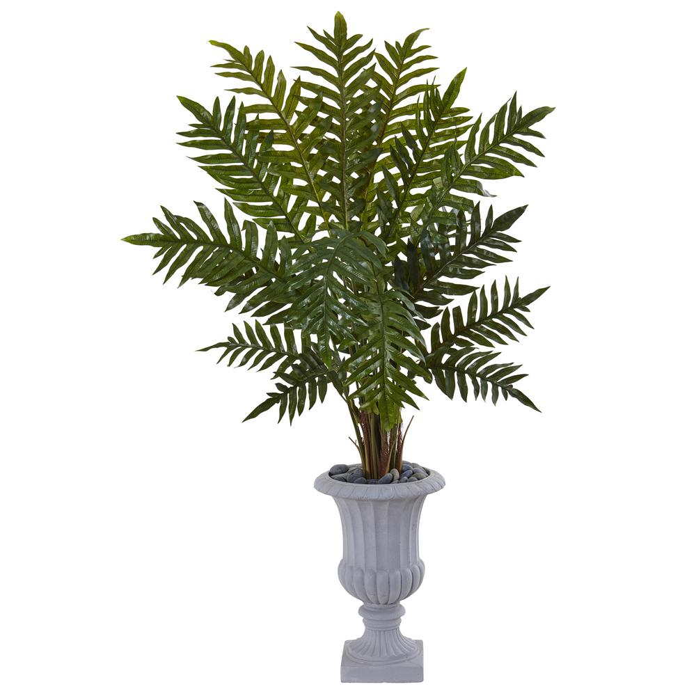 Nearly Natural Indoor 4 5 In Evergreen Artificial Plant Gray Urn