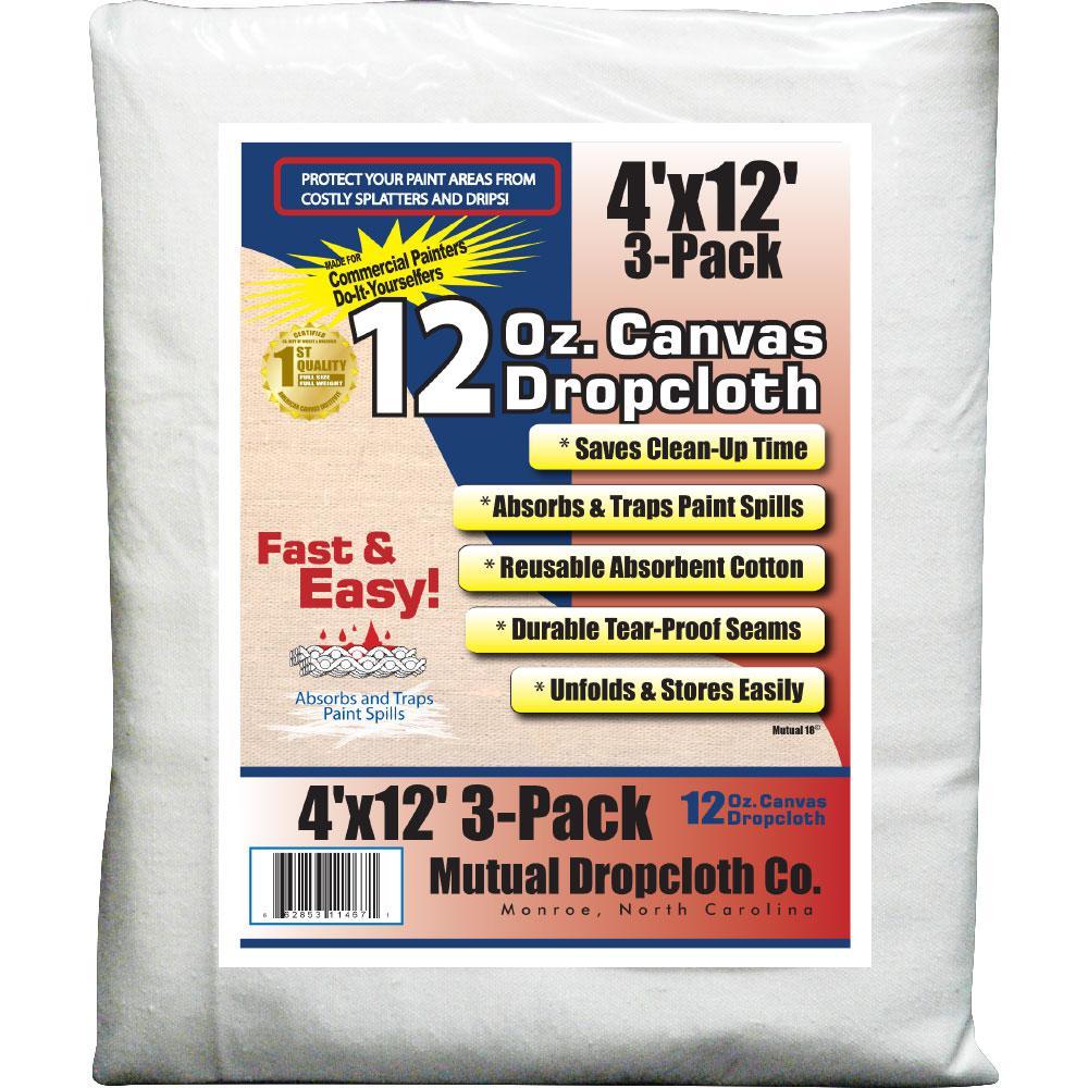 4 ft. x 12 ft. 12 oz. Natural Canvas Drop Cloth (3-Pack)