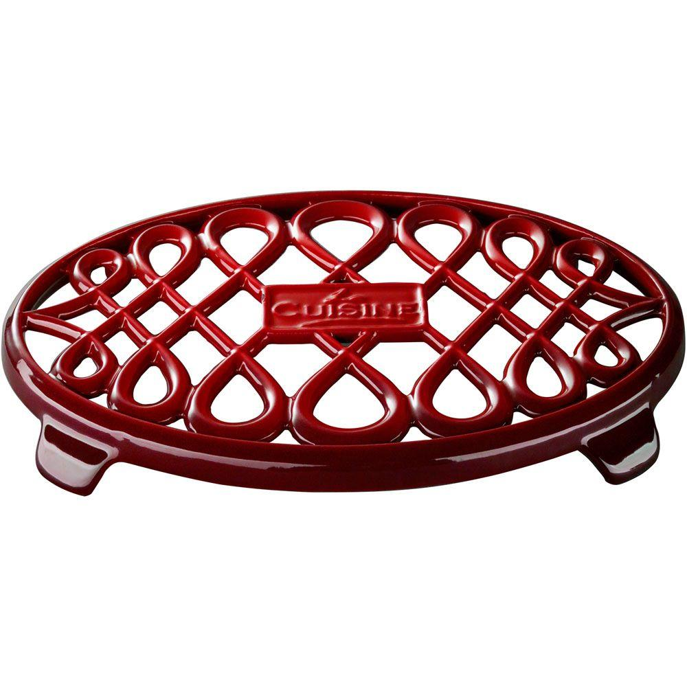 Cast Iron Non-slip Red Trivet