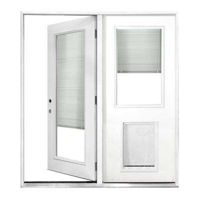 72 In X 80 In Mini Blind Primed White Prehung Right Hand Inswing Fiberglass Center Hinge Patio Door With Sl Pet Door