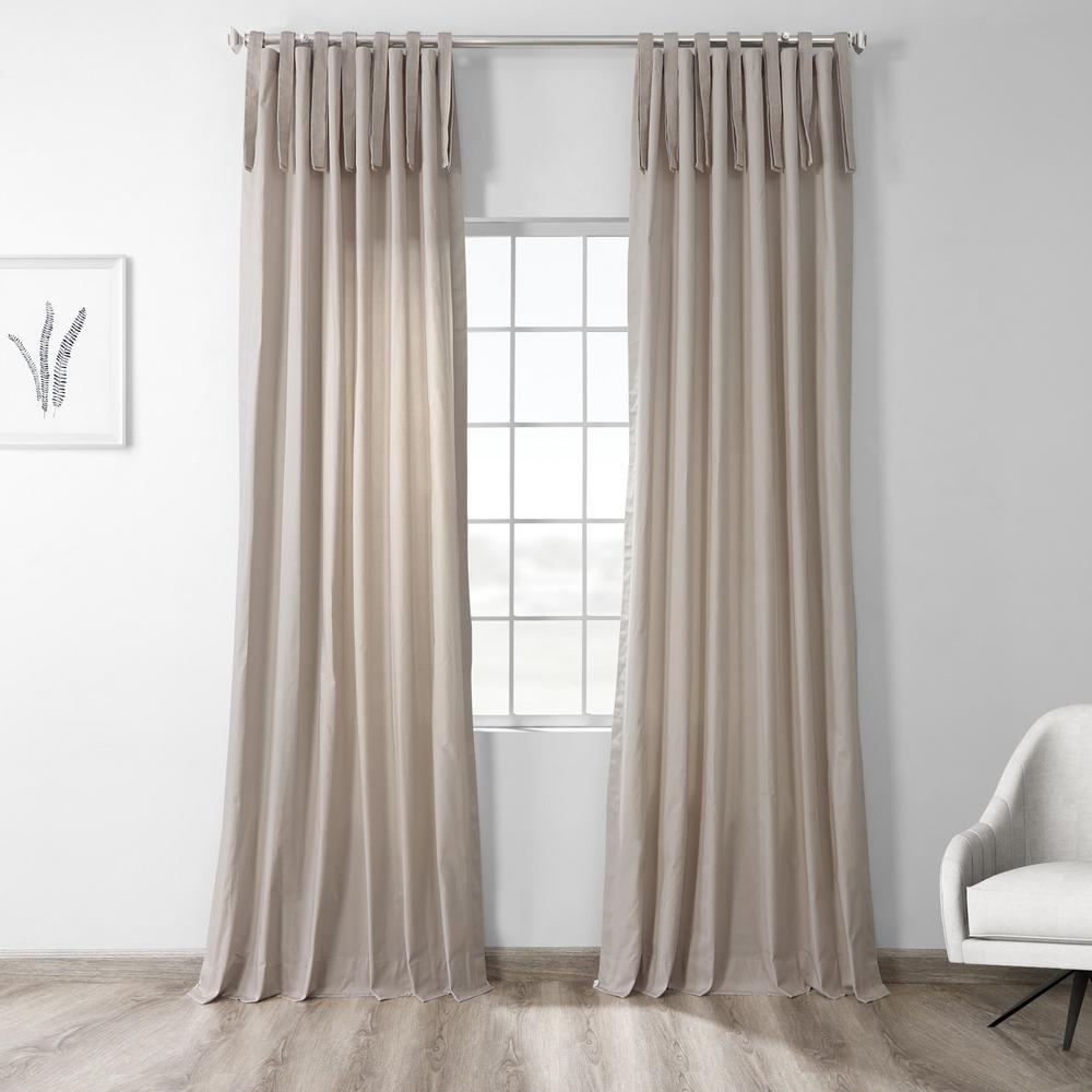 Hazelwood Beige Room Darkening Solid Cotton Tie-Top Curtain - 50 in. W x 96 in. L