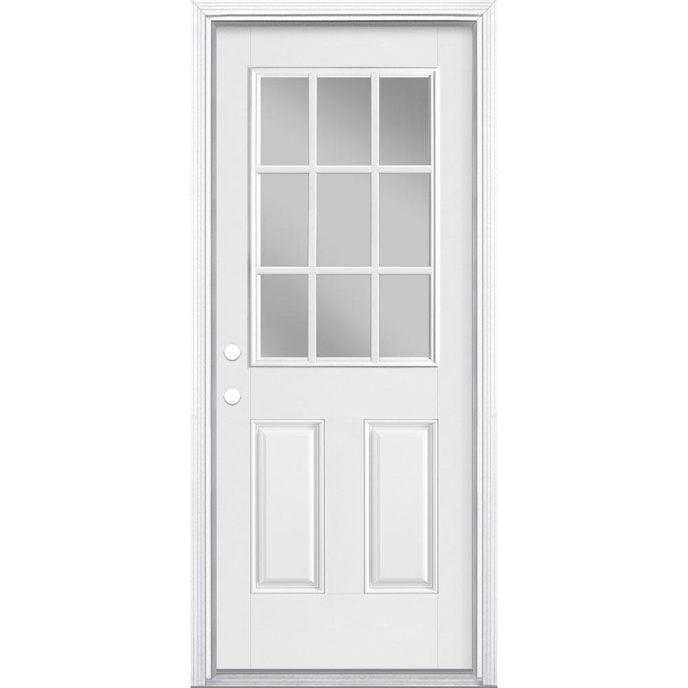 32 in. x 80 in. Premium 9 Lite Right-Hand Inswing Primed Smooth Fiberglass Prehung Front Door with Brickmold