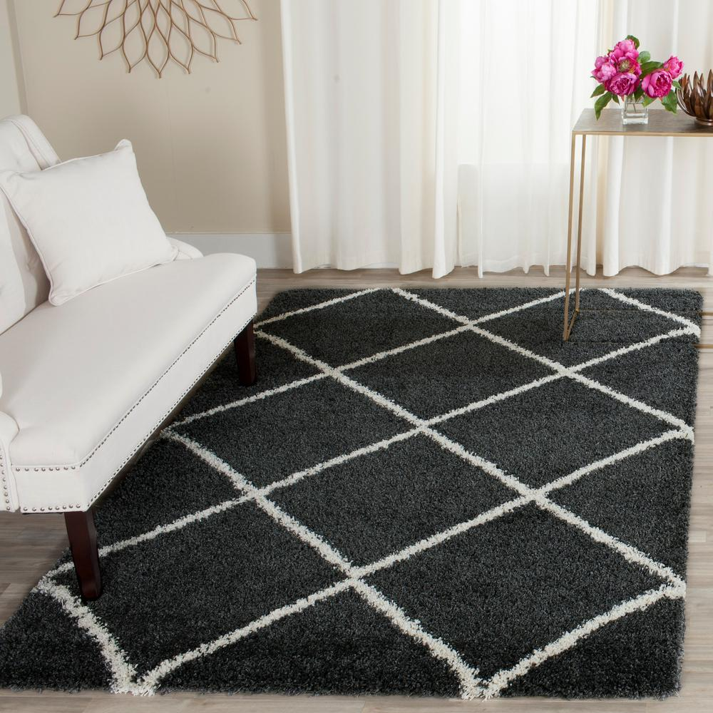 Hudson Shag Dark Gray/Ivory 6 Ft. X 9 Ft. Area Rug