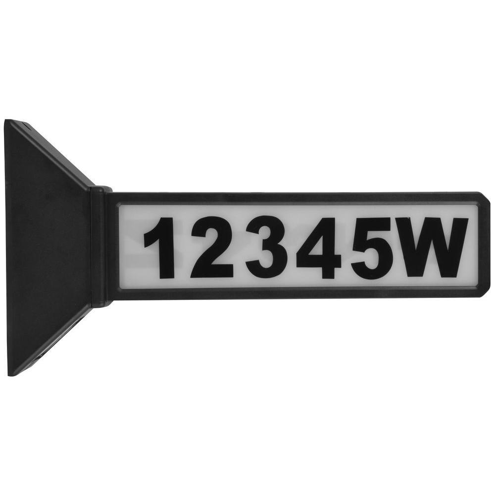 Black Outdoor Solar Powered LED Address Sign Light