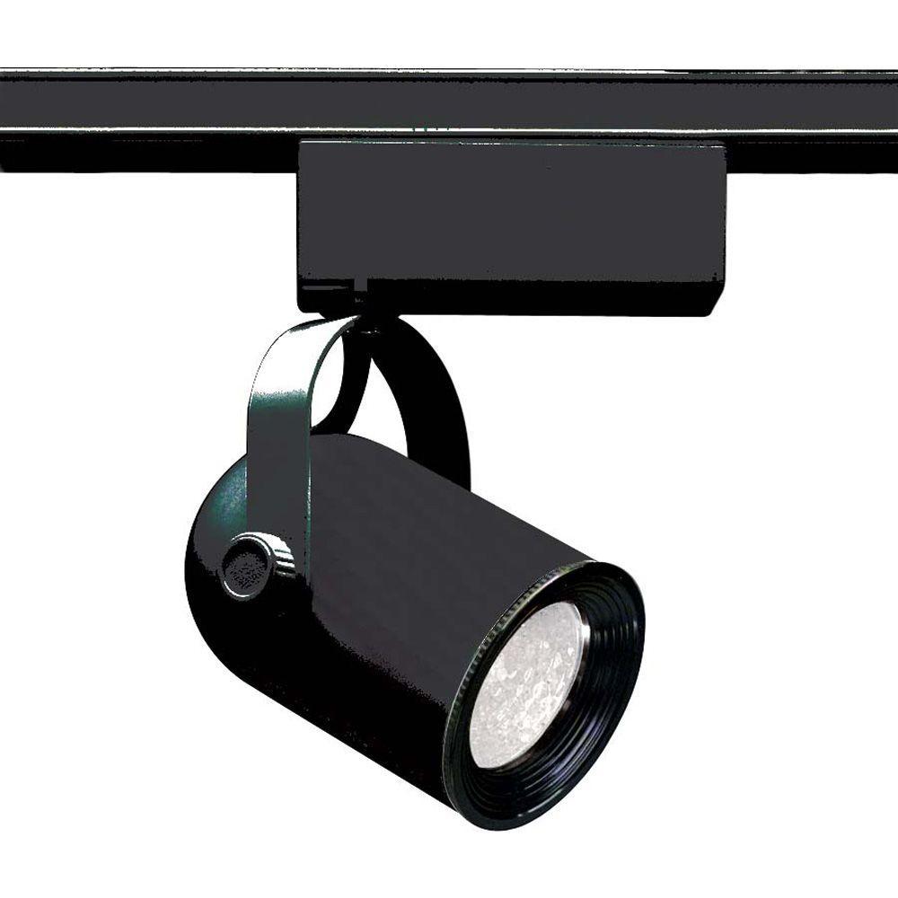 1-Light MR16 12-Volt Black Round Back Track Lighting Head