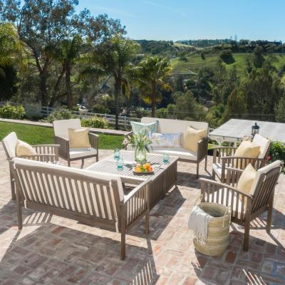 Thalia Grey 8-Piece Wood Patio Conversation Set with Cream Cushions