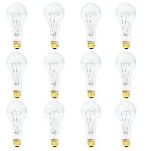Base with Medium Screw Bulbrite 860880 200 W Dimmable A23 Shape Incandescent Bulb E26 12 Pack Clear