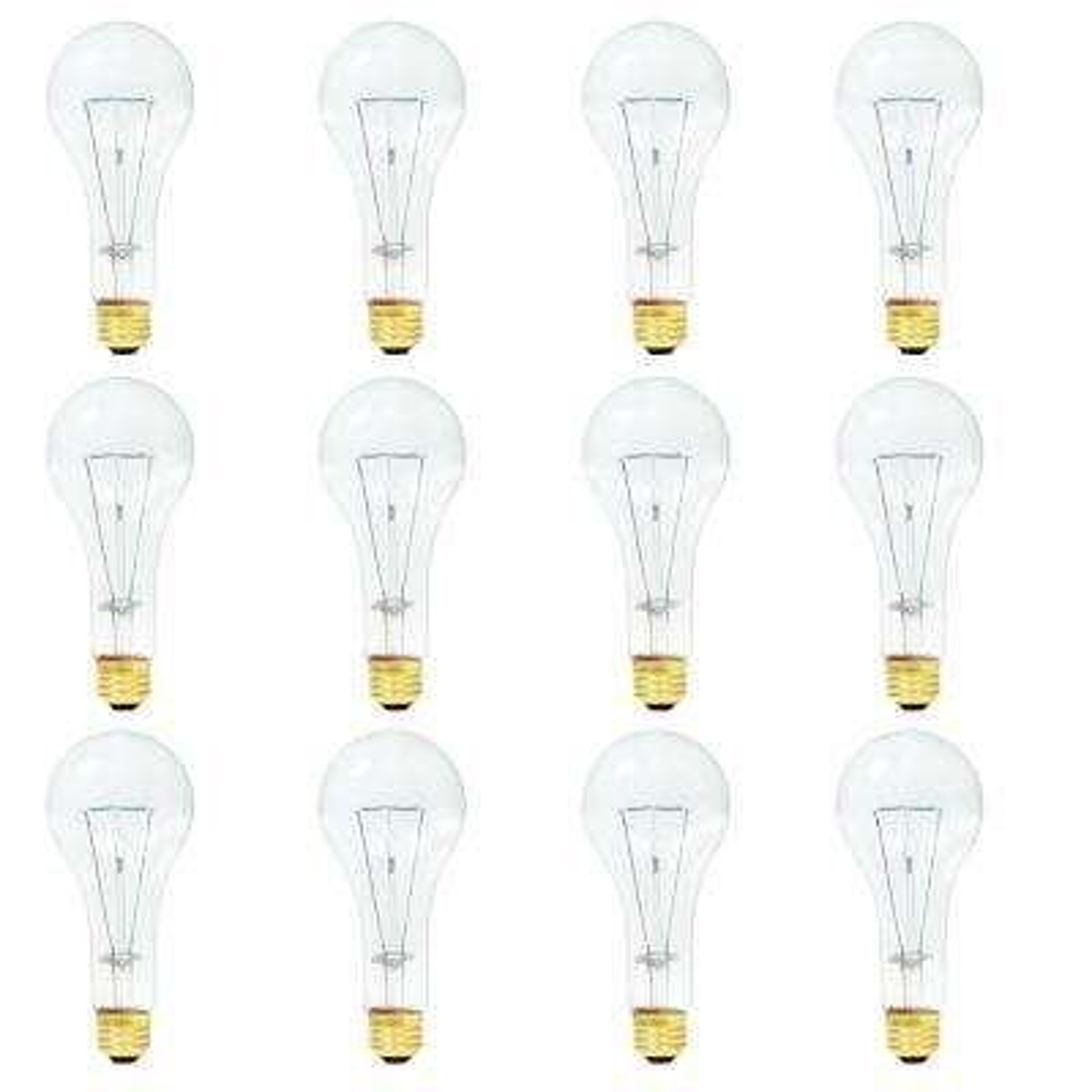 200-Watt A23 Dimmable Warm White Light Incandescent Light Bulb (12-Pack)