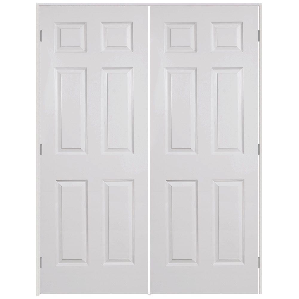 6 Panel Textured Hollow Core Primed White Composite Double Prehung Interior  Door W626WWADAEDR   The Home Depot