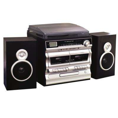 3-Speed Turntable with CD Player, Double Cassette Player, Bluetooth, FM Radio and USB/SD Recording