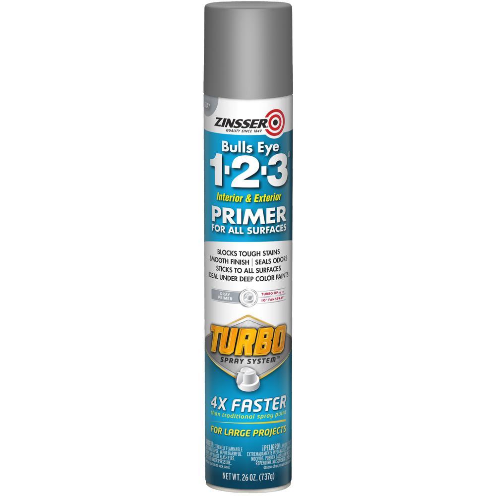 Zinsser Zinsser Bulls Eye 1-2-3 26 oz. Turbo Gray Interior/Exterior Primer Spray (6-Pack), Flat Gray