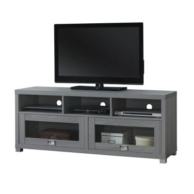 Durbin 15 in. Gray Wood TV Stand Fits TVs Up to 60 in. with Storage Doors
