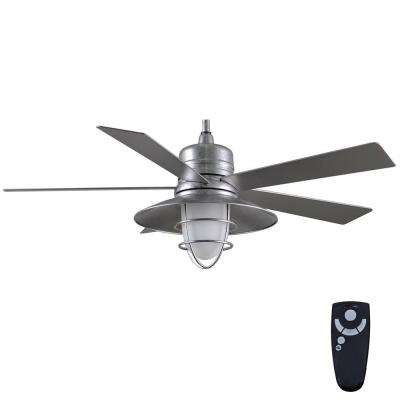 Remote control included ceiling fans lighting the home depot led indooroutdoor galvanized ceiling fan with light kit and remote aloadofball