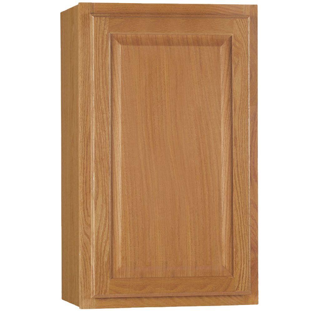 Hampton Bay Hampton Assembled 18x30x12 in. Wall Kitchen Cabinet in Medium Oak