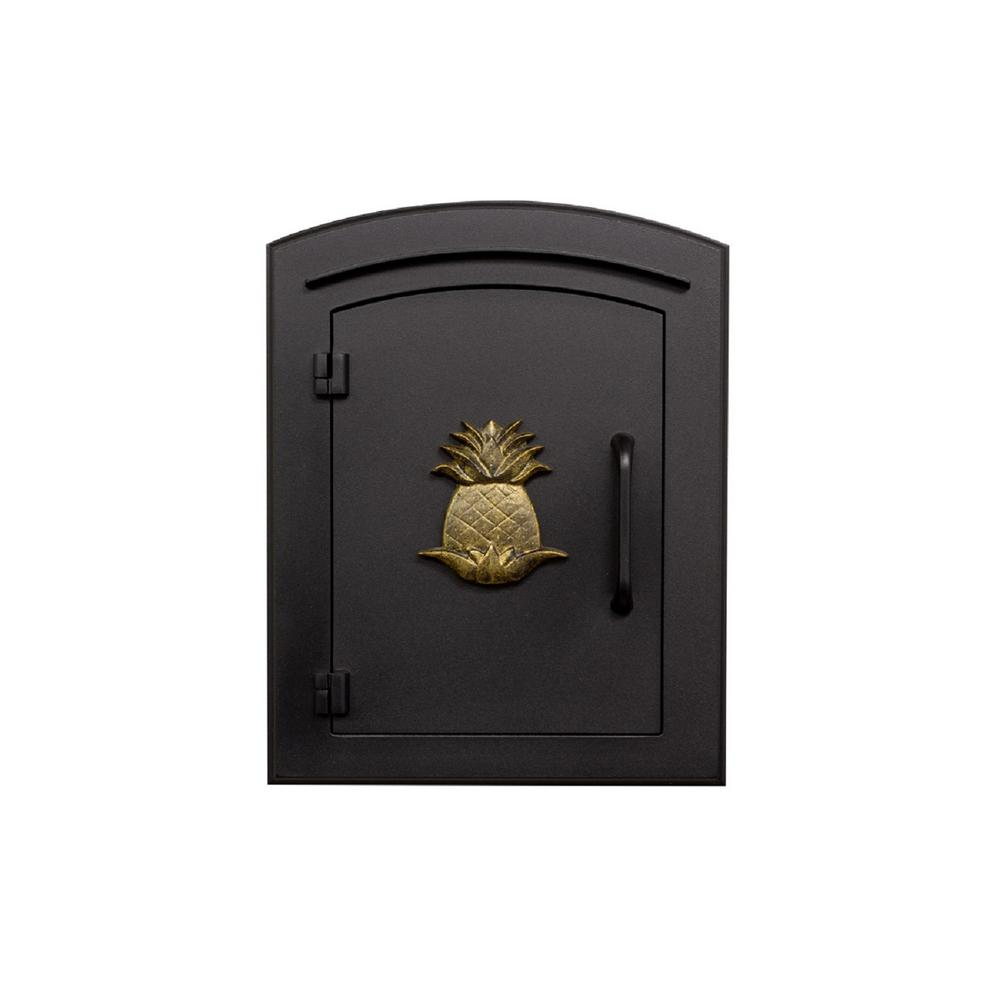 Manchester Black Column Mount Non-Locking Mailbox with Decorative Pineapple Logo