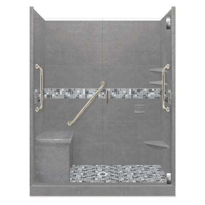 Newport Freedom Grand Hinged 30 in. x 60 in. x 80 in. Center Drain Alcove Shower Kit in Wet Cement and Satin Nickel