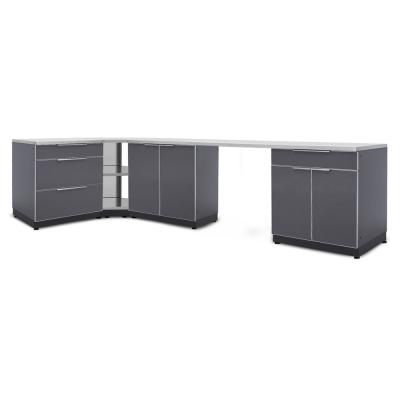 Slate Gray 6-Piece 112 in. W x 36.5 in. H x 24 in. D Outdoor Kitchen Cabinet Set