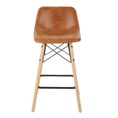 26 in. Sand Faux Leather Counter Stool with Black Base (Set of 2)